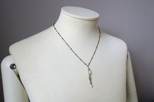 """Collier """"Goutte de verre"""" Bronze, Perle de verre transparente, ivoire"""
