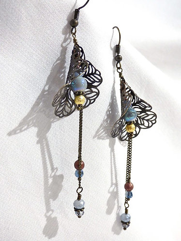 """Boucles d'oreilles """"Arum"""" Bronze, Coloris au choix"""