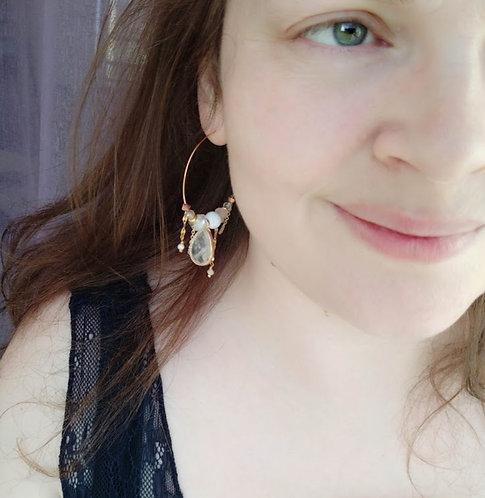 """Boucles d'oreilles """"Gemmes grande créole"""" argenté, cristal de roche"""