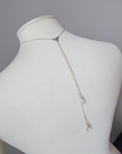 """Bijoux / Collier de Dos """"Goutte"""" transparent, argenté, coeur"""