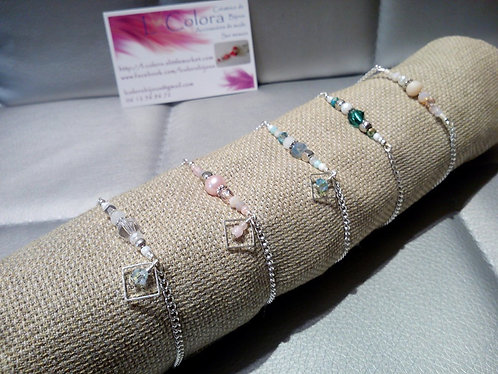"""Bracelet """"Simply One"""" Argenté, coloris au choix"""