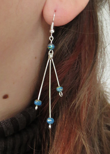 """Boucles d'oreilles """"Vertige"""" émeraude - bleu-parme"""