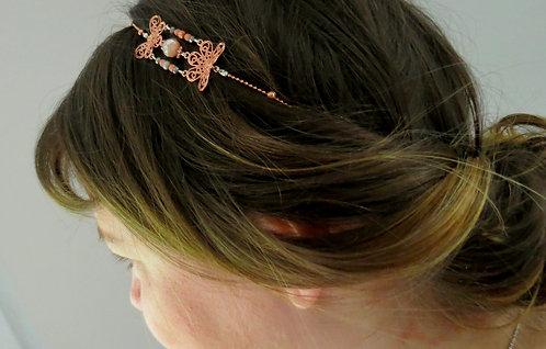 "Headband ""Orose "" Or rose ,Blanc"