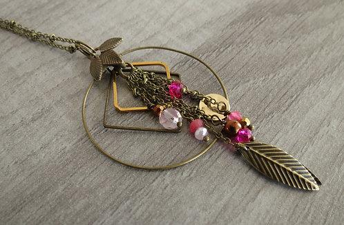 """Collier / Sautoir """"Feuillage.~* bronze, 3 coloris"""