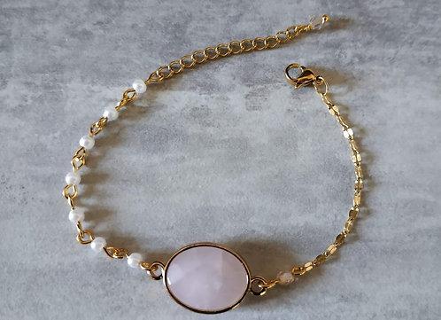 """Bracelet """"Quart Doré"""" Quartz rose, acier inoxydable"""