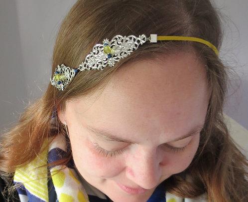 """Headband """"Harmony"""" argenté, bleu, jaune"""