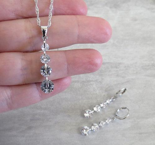 """Parure """"Diamant"""", Boucles d'oreilles et Collier"""