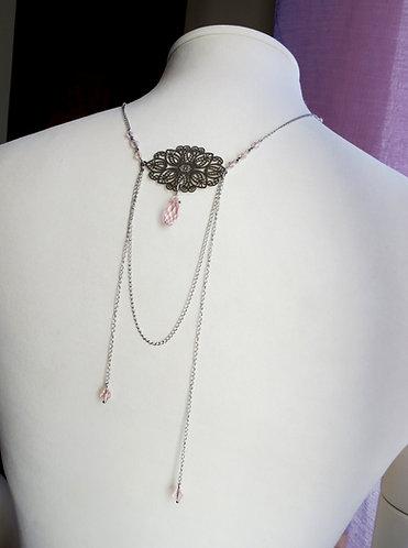 """Bijoux / Collier de Dos """"Sacrée"""" acier inoxydable, rose poudré, transparent"""