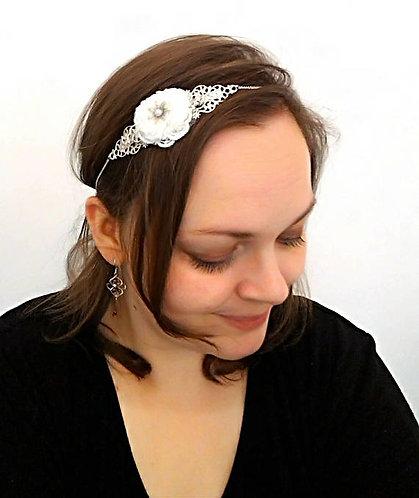 """Headband """"Douceur"""",Mariage, dentelle, blanc, ivoire, nacré"""