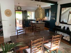 Separate dining area inside.