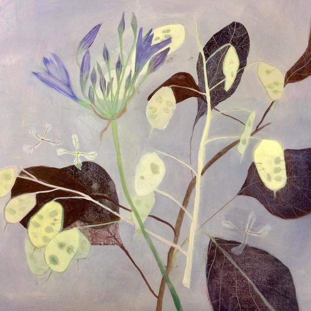 Agapanthus, Smokebush Leaves and Honesty