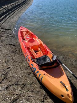 Kayaks down by the lake.