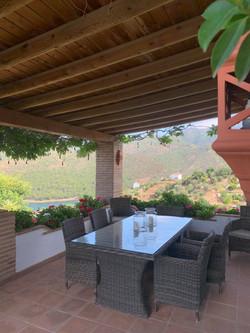Outside terrace by entrance.