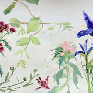 Garden Flowers with Blue Iris