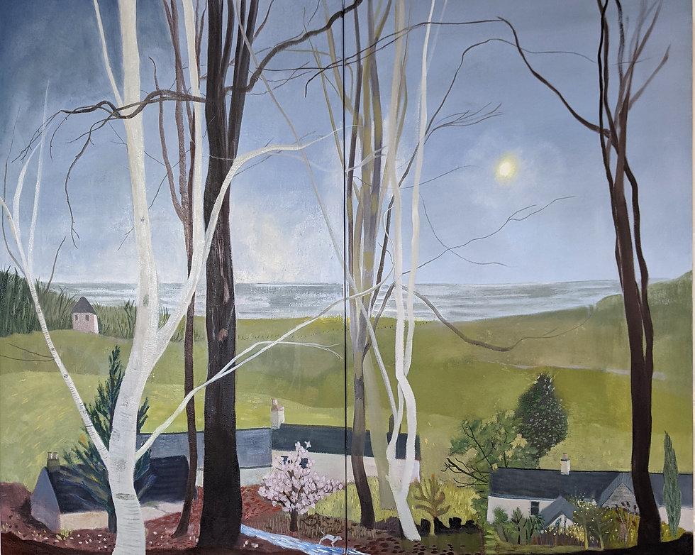 Oil painting Devon coast landscape sea English rural coastal pastoral fine art original paintings