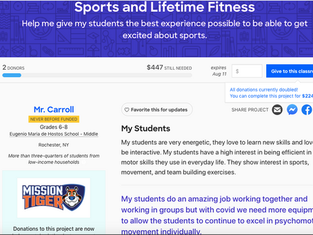 Support This Classroom Initiative: Fitness During the Pandemic