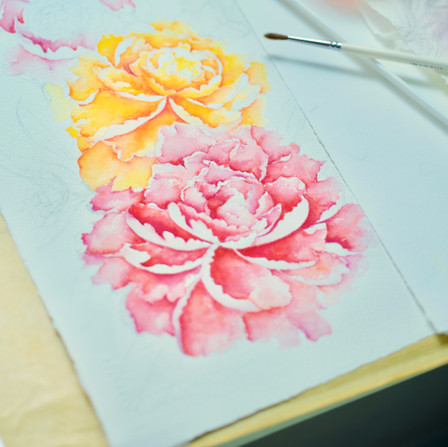 Peonies, Mishell Leong Water Colour
