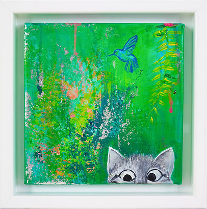 cat in the garden, mishell leong, 2019, botanicals