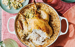 Roast chicken with orange, fennel, olive