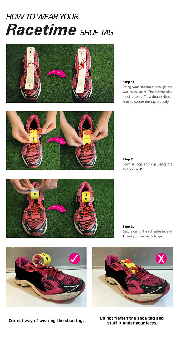 how to use wear install the racetime shoetag on your running shoes