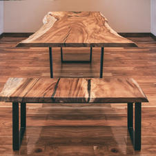 Monkey Pod Slab Table With Bench