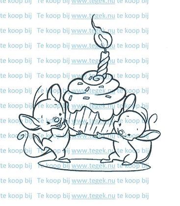 Rubber Stempel 2 muizen met cupcake