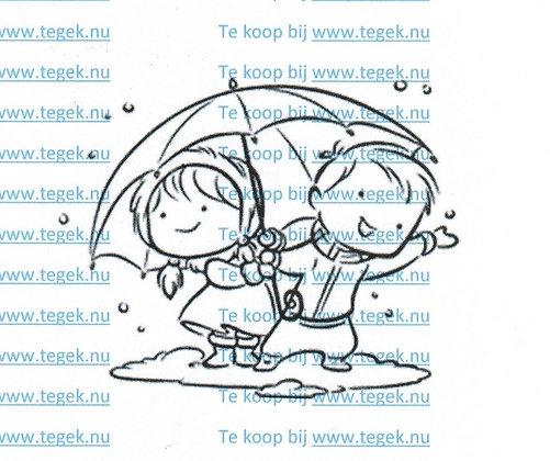 Stempel onder de paraplu