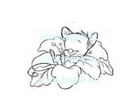 Rubber Stempel muis in bloem