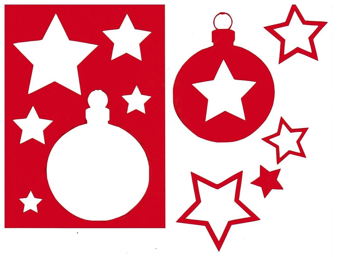 Sjabloon Kerstbal met sterren A6