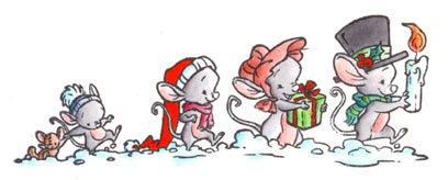 Rubber Stempel 4 muizen in de sneeuw