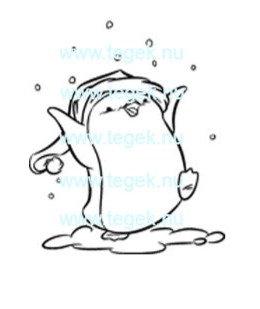 Rubber Stempel pinguin sneeuw