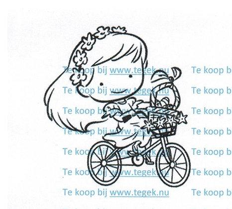 Stempel Meisje op fiets