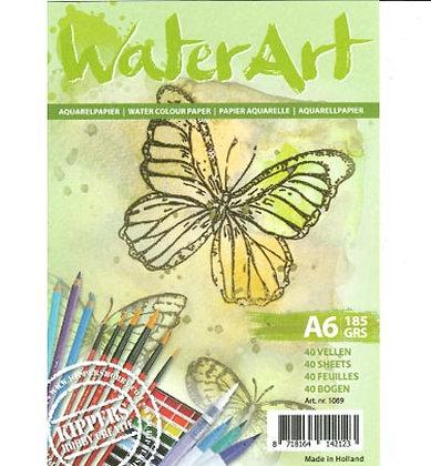 WaterArt aquarelpapier A6 185 gr 40 vel