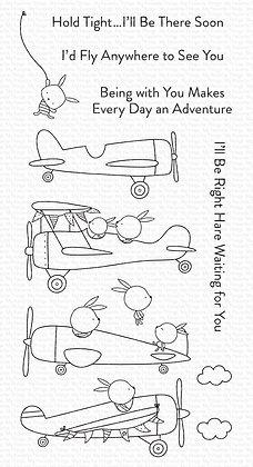 Schattige vliegtuig clear stamps