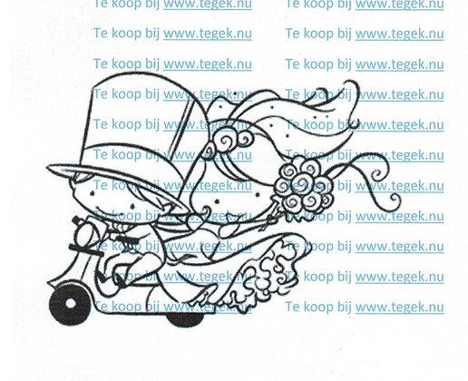 Stempel Bruidspaar op scooter