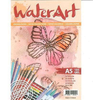 WaterArt aquarelpapier A5 185 gr 30 vel