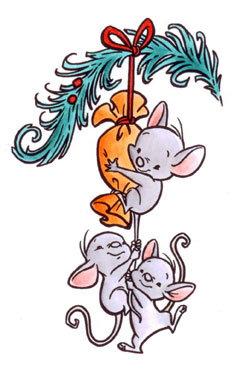 Rubber Stempel 3 muizen aan tak
