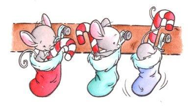 Rubber stempel 3 muizen in sok