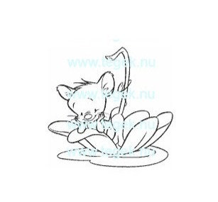 Rubber Stempel muis varend in bloem