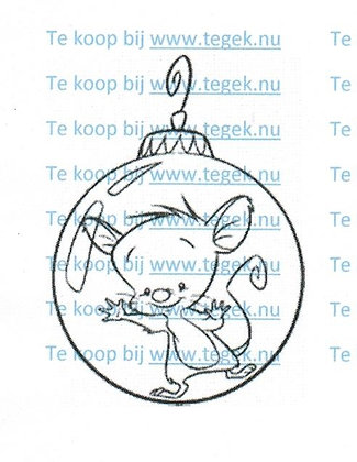 Rubber Stempel muis in Kerstbal