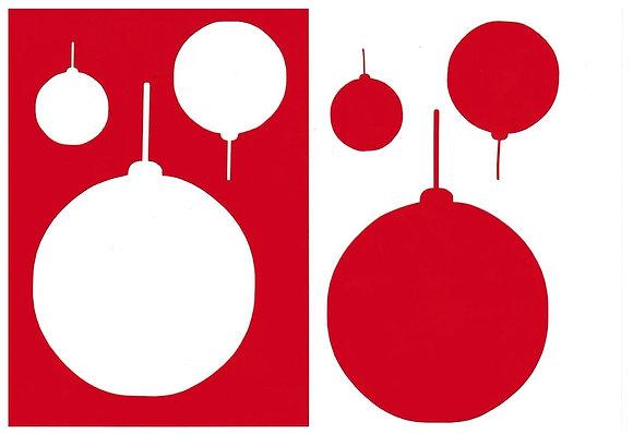 Sjabloon 3 ronde Kerstballen A6