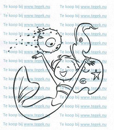 Rubber Stempel Zeemeermin met Vis