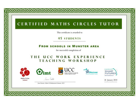 TY Students Become Maths Circles Tutors at UCC Mathematics Work Experience