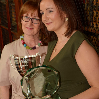 Winner Irene Stone with school principal Eithne Coyne