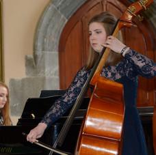 Alison Riordan, double bass accompanied by pianist Saoirse Lonergan played Sonata in G Minor, Mvt 1, Allegro Non Troppo by Bernhard Romberg