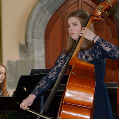 Alison Riordan, double bass accompanied by pianist Saoirse Lonergan played Sonata in G Minor, Mvt 1, Allegro Non Troppo by Bernhard Romberg