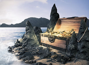 photo of open treasure chest with shinny