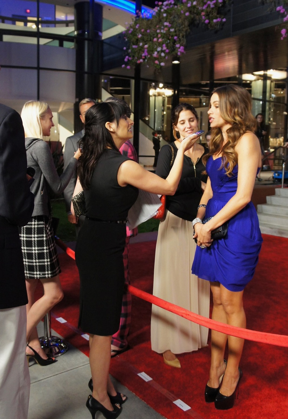 While standing behind velvet ropes, female reporters interview celebrities on the red carpet.