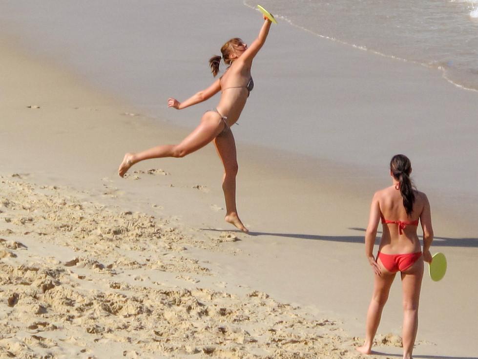 bat and ball on Bondi Beach