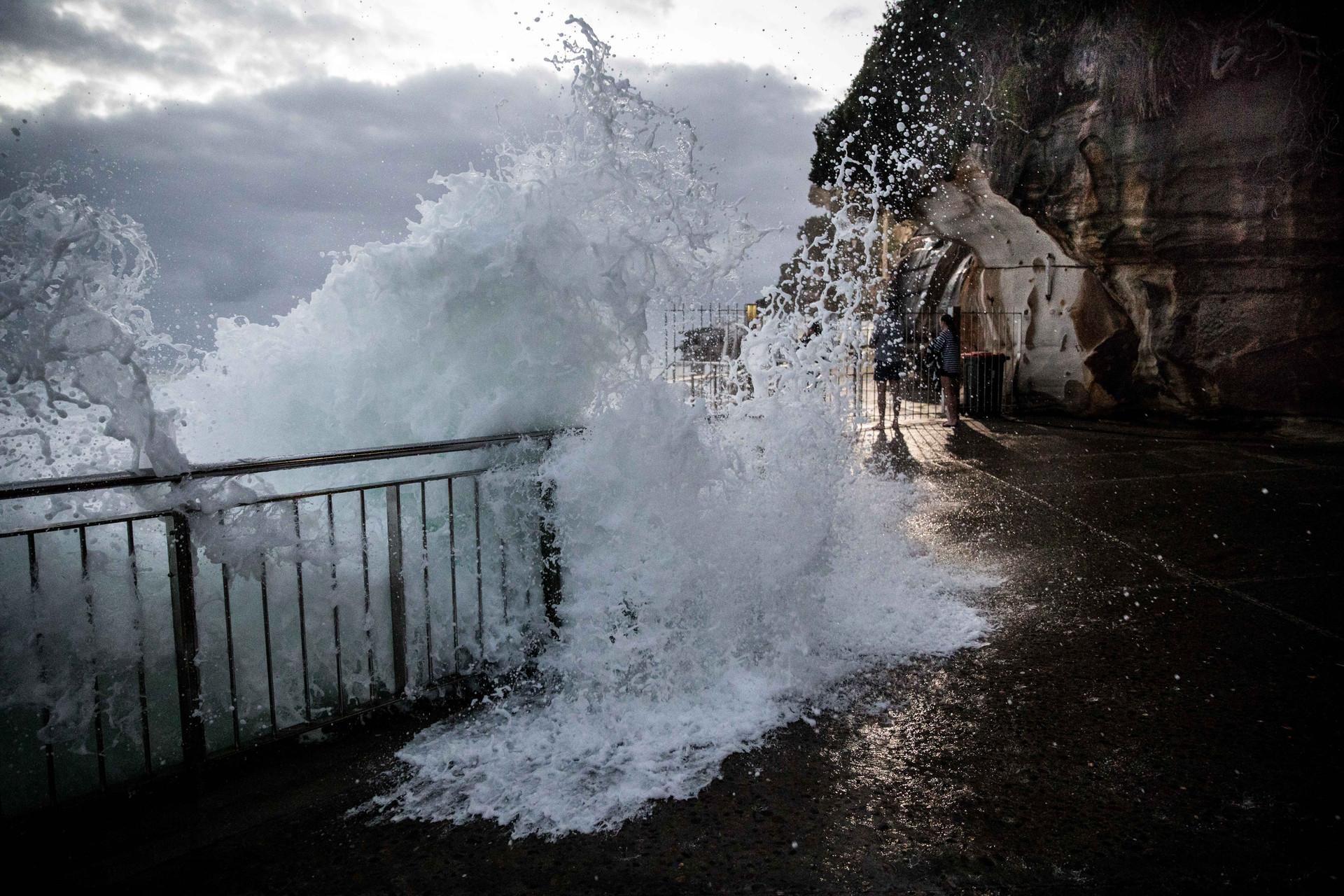 Bronte wave xcrashes railing